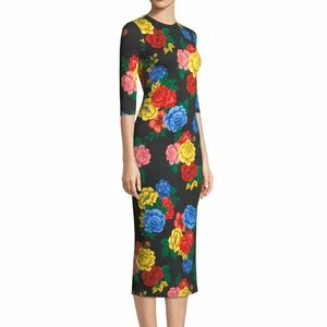 Alice + Olivia Delora Fitted Floral Crewneck Dress